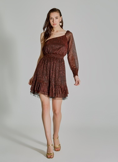 People By Fabrika Tek Omuz Elbise Bordo